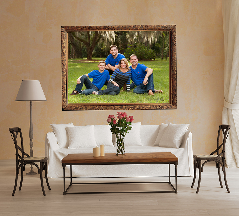 Photography of family in Orlando with portrait on living room wall
