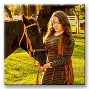 High School senior girl with a horse